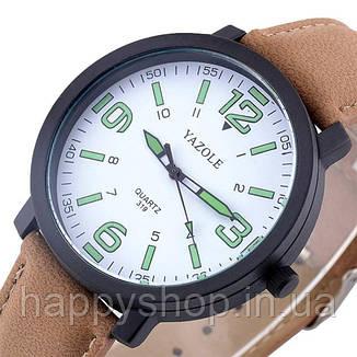 Часы мужские YAZOLE neon (Brown/White), фото 2