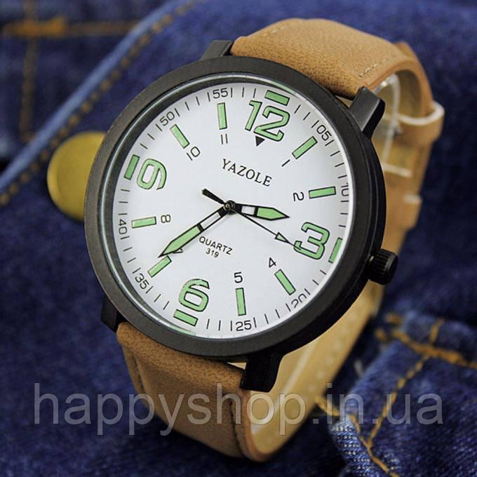 Часы мужские YAZOLE neon (Brown/White)