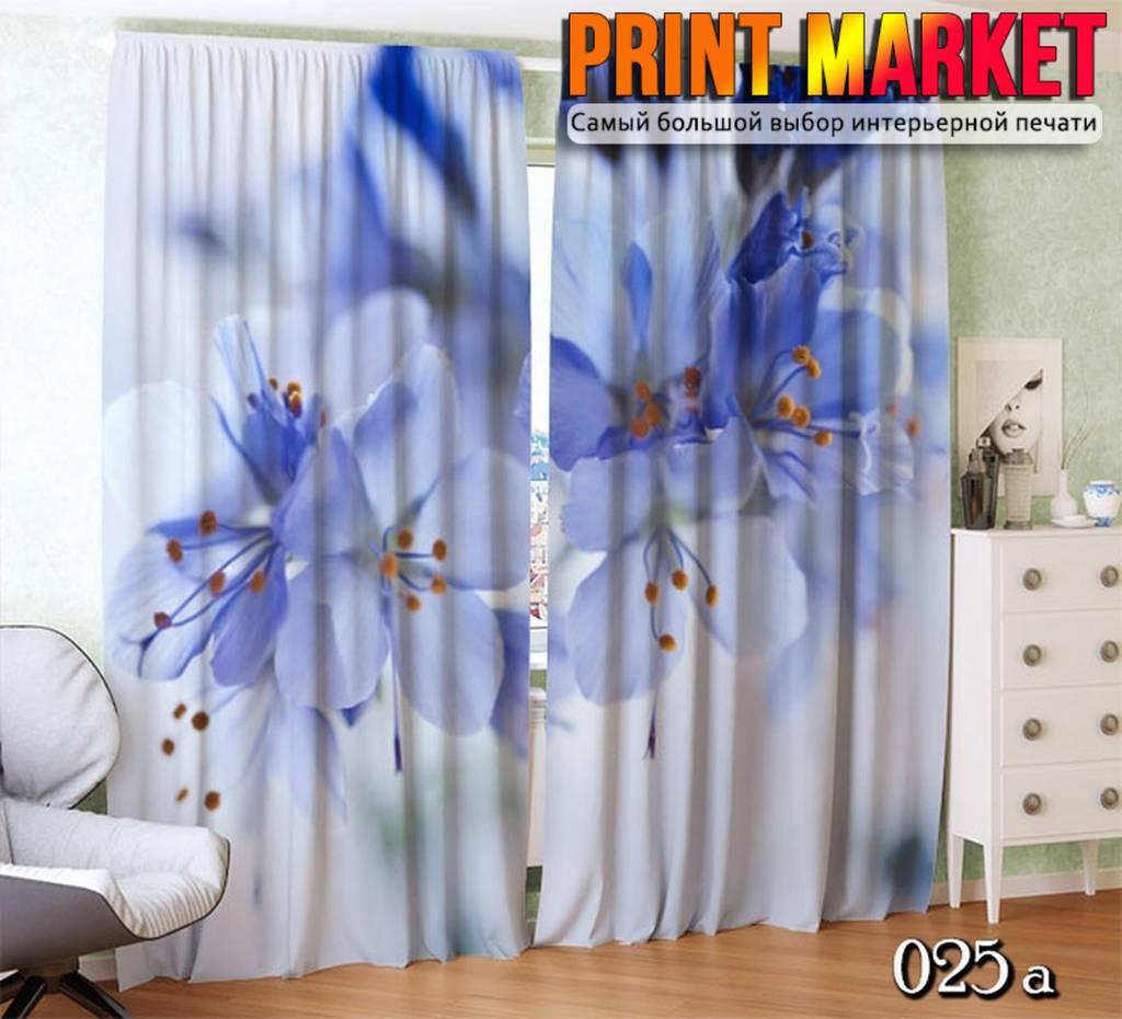 Фотошторы бело-синие цветы