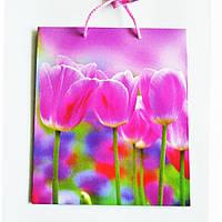 Подарочный пакет СРЕДНИЙ КВАДРАТ 21х25х8см Тюльпаны малиновые
