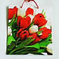 Подарочный пакет СРЕДНИЙ КВАДРАТ 21х25х8см Букет красных и белых тюльпанов