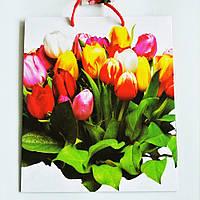 Подарочный пакет СРЕДНИЙ КВАДРАТ 21х25х8см Букет разноцветных тюльпанов