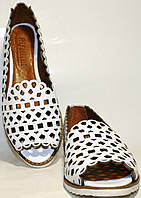 Балетки летние Rifellini Rovigo 124 01 кожа, белые, открытый носок, в дырочку.