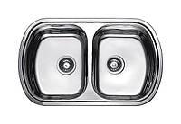 Двойная мойка для кухни из нержавейки Fabiano 80х49х2