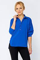 Блузка из шелк-шифона Лурдес синяя