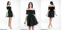 Короткое вечернее платье с вирезом Анжелика-BLACK