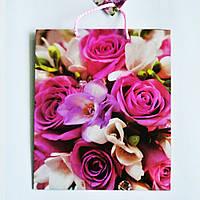 Подарочный пакет СРЕДНИЙ КВАДРАТ 21х25х8см Розы и цветы