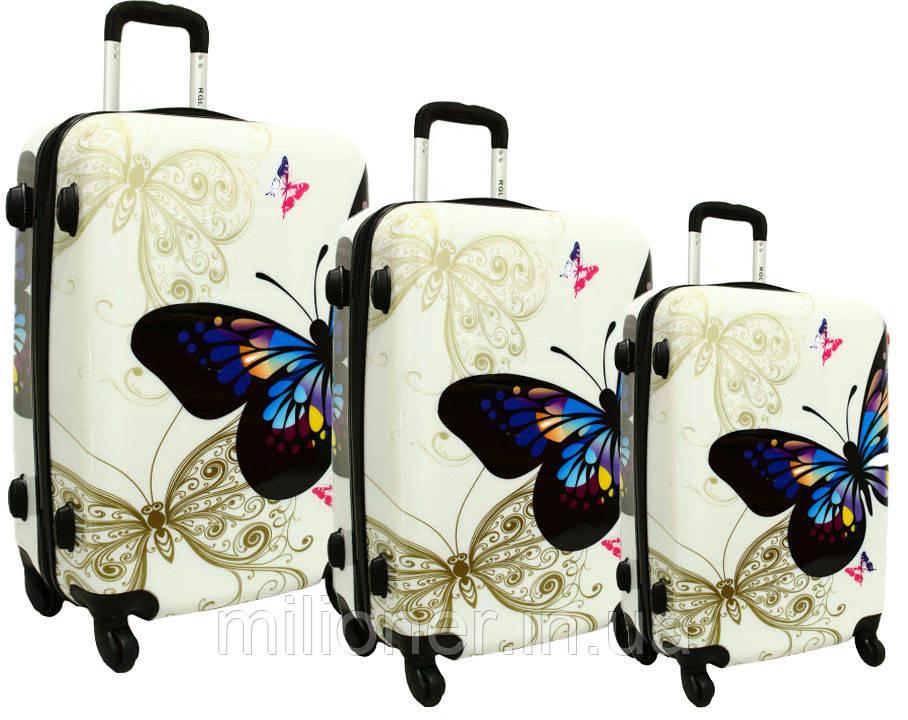 Чемодан сумка RGL набор 3 штуки бабочка