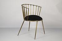 Железный стул-кресло с бархатной сидушкой круглой формы. Цвет brass antique. Ручная работа. Сделано в Индии.