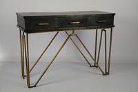 Консольный столик 3 ящика. Массив акация дерево. Black/brass antique. Ручная работа. Сделано в Индии.