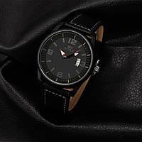 Часы мужские SOXY с кожаным ремешком (черные)