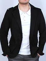 Мужской черный джинсовый пиджак с карманами
