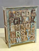 КОМОД ALPHABET LATIN 2 DRAWER 2 DOOR ALPHABET SIDEBORAD. Цвет декоративная покраска. Комод в стиле Лофт. Ручная работа. Сделано в Индии.