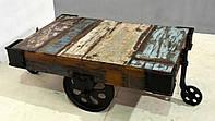 Журнальный столик CART TABLE (110x70 см). Декоративная покраска. Столик в стиле Лофт. Ручная работа. Сделано в Индии.