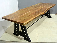 Стол 5 CM THICK LIVE EDGE DINING TABLE WITH CAST IRON LEG. Натуральное дерево и чугун. Цвет медовый. Ручная работа. Сделано в Индии.