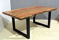 Обеденный стол DINING TABLE Loft 3081. Натуральное дерево и металл. Цвет медовый. Ручная работа. Сделано в Индии.