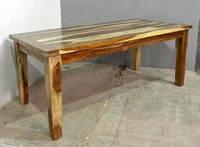 Обеденный стол 4 CM THICK SHEESHAM DINING TABLE. Натуральное дерево. Цвет светлый. Ручная работа. Сделано в Индии.