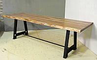 Обеденный стол DINING TABLE Loft 3078. Натуральное дерево и чугун. Цвет медовый. Ручная работа. Сделано в Индии.