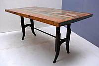 Обеденный стол DINING TABLE Loft 4031. Натуральное дерево и металл. Декоративная покраска. Ручная работа. Сделано в Индии.