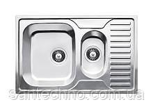 Прямокутна подвійна (з фруктовницей) кухонна мийка з нержавіючої сталі Fabiano 78х50х15