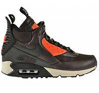"""Кроссовки """"Nike Air Max 90 Sneakerboot Dark Brown"""" Мужские Коричневые Высокие Спортивные Осенние Зимние (Дождь"""