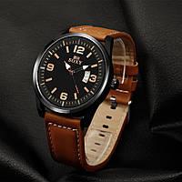 Часы мужские SOXY с кожаным ремешком (коричневые)