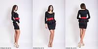 Классическое платье с двушаровой баской и поясом-бантомBLACK