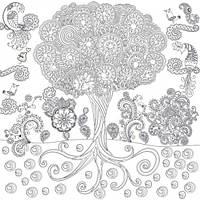 Обои раскраска  Дерево