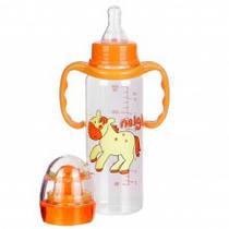 Бутылочка для кормления с ручками, пластиковая (250 мл) с погремушкой. арт. 1114