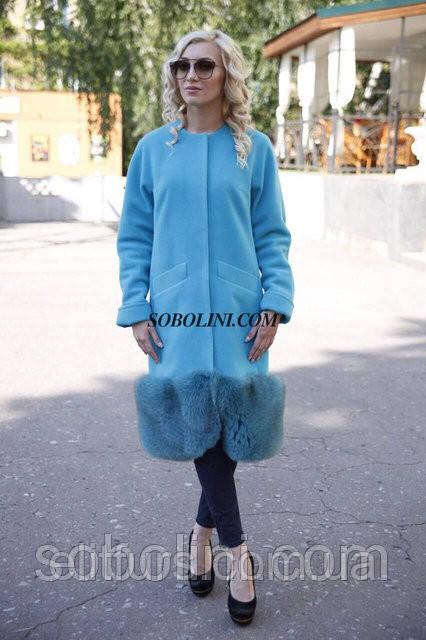 Пальто кашемир+шерсть, низ отделан мехом финского песца, цвет голубой