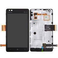 Дисплей (LCD) Nokia 900 Lumia с сенсором черный оригинал + рамка