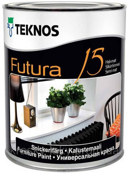 Краска Futura 15 Teknos для дерева и металла, 0.9л