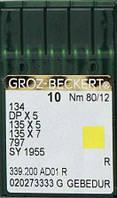 Голка Groz-Beckert 134, DPx5, 135x5, 135x7 GEBEDUR з товстої колбою і позолотою 10 шт/уп