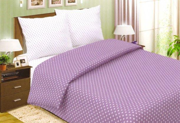 Комплект постельного белья полуторный, поплин Фиолетовый горошек