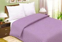 Комплект постельного белья евро, поплин Фиолетовый горошек