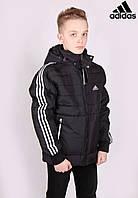 Куртка мужская Adidas 772# Black с белыми полосами Размеры M (46)