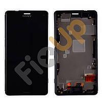Модуль Sony D5803, D5833 Xperia Z3 Compact: дисплей + тачскрин (сенсор), с рамкой, цвет черный