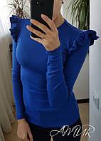 Молодежный  трендовый свитерок с воланами на рукавах, цвет электрик. Арт-9973/82