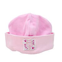 """Детская велюровая шапочка """"Кошечка"""" для девочек (розовый)"""