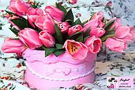 """Тюльпаны в шляпной коробке """"Доброе утро"""""""