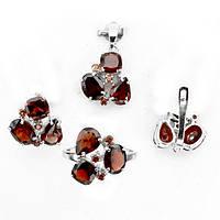 Гранат красно-оранжевый Мозамбик, серебро 925, серьги, кольцо и кулон комплект, 025НГ