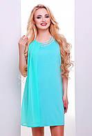 42,44,46,48,50 размер Красивое платье Алевтина женское зеленое батал летнее свободное короткое шифоновое мини
