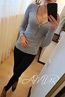 Женский серый  модный свитер на молнии. Арт-9974/82