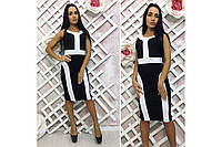 Платье комбинация черного с белым