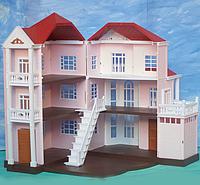 """Игрушечный домик """"Розовый"""", 3-х этажный разворачивающийся, со светом, с гаражом 1513"""