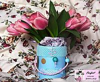 """Цветы в шляпной коробке """"Ушастый тюльпан"""""""
