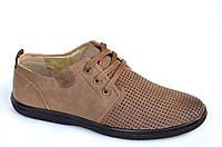 Мужские мокасины туфли летние легкие стильные сетка коричневые в дырочку