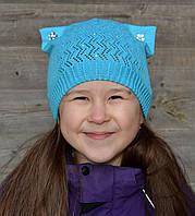 Детская шапка Арктик Сережки. Хлопок, ажур. 3-8 лет: р.50-55 белый, молоко, т.розовый, бирюза, св.коралл