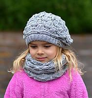 Детская шапка Арктик Ёжик, ажурная шапка-берет. от 6 лет. р. 53-58. Т.серые, т.розовые, св.серые, черные, белые