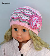 Детская шапка Арктик Одуванчик. Большой размер 2-7 лет (р.48-54см) молоко+желтый, розовый